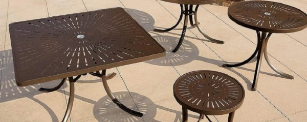 LaStratta Patterned Aluminum Tables by Tropitone