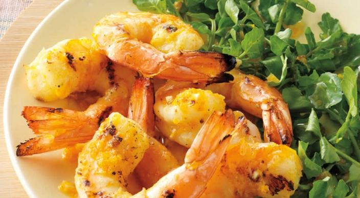 Orange-Fennel Shrimp over Watercress – Weber