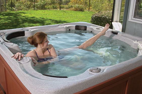 exercise in a hot tub