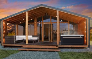 Hot Tub Haven for the senses | caldera paradise reunion hot tub in wood house with lights