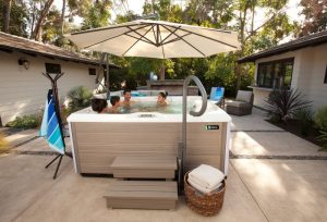 hot tub with handrail and steps   hot tub safety