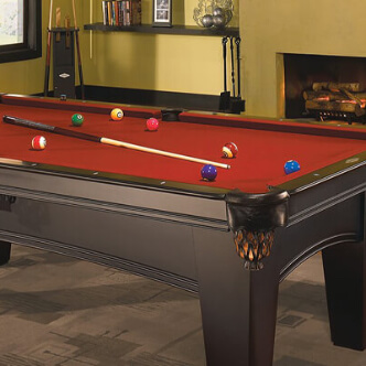 Pool table with red cloth