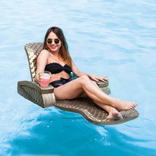 Woman Sitting Folding Lounge Chair