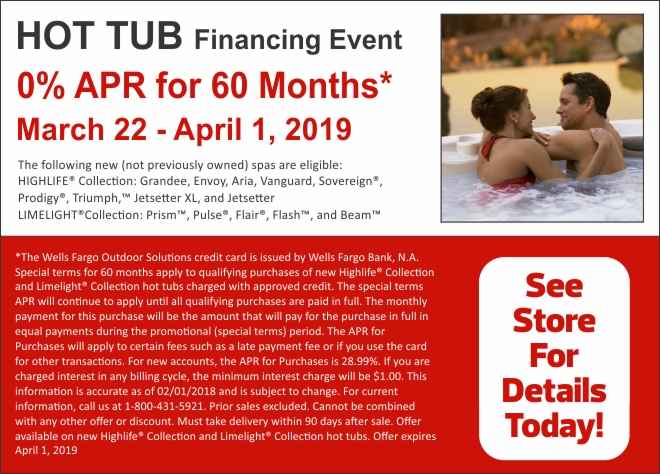 0% APR for 60 Months - Hot Tub Financing Event
