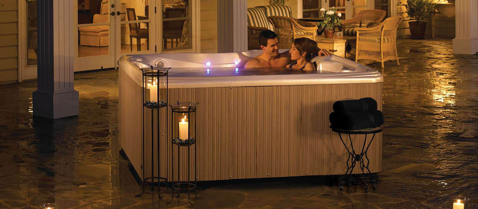Enhance your spa experience with the Relay's multi-color LED lighting system and therapeutic waterfall. Add an optional wireless TV and sound system to watch your favorite shows and listen to music while you soak.