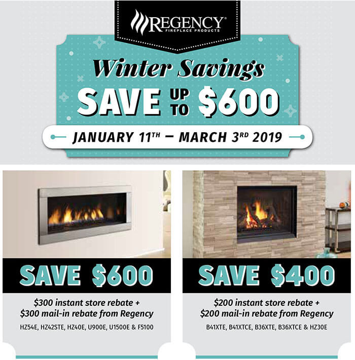 Winter Savings on Regency Fireplaces – Jan. 11th to March 3rd