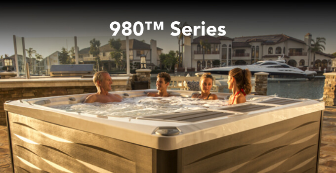 Lifestyle image of a family in a 980 Series spa