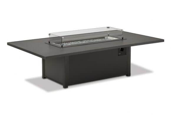 Rectangular Aluminum Slat Chat Height Fire Table