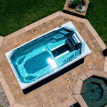 A pool from Endless Pool on a patio