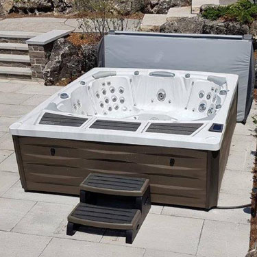 Hot tub on a patio