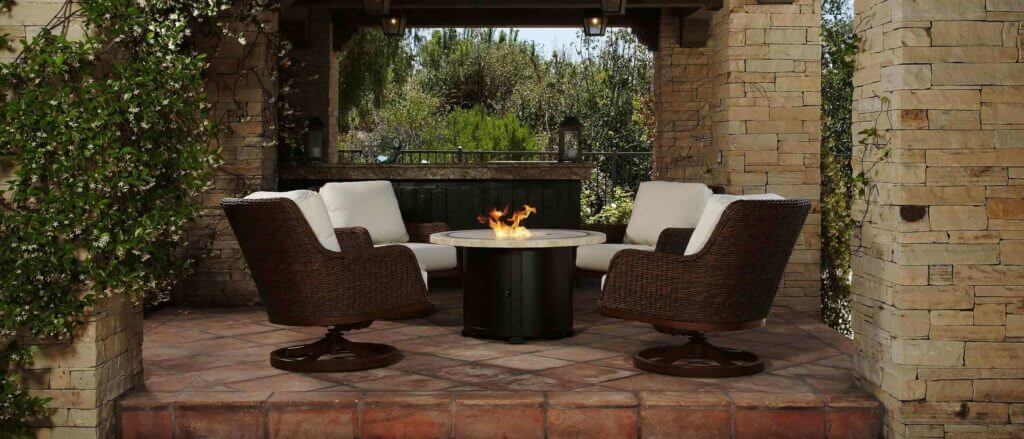 Renaissance patio furniture by firepit