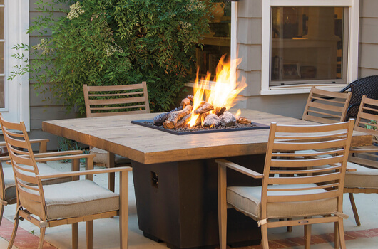 Dining fire table at sunset