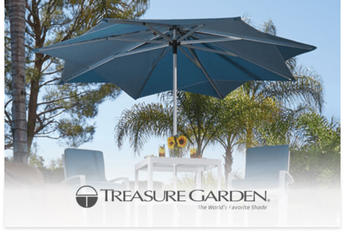 Treasure Garden Umbrellas lifestyle image with logo