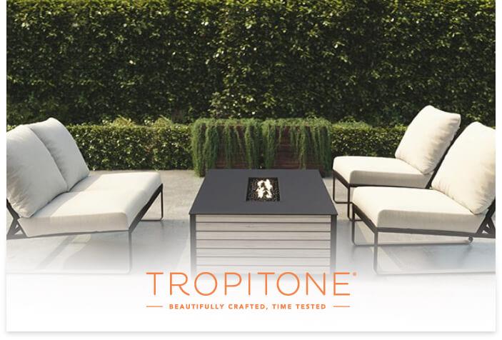 Tropitone's logo on a lifestyle image