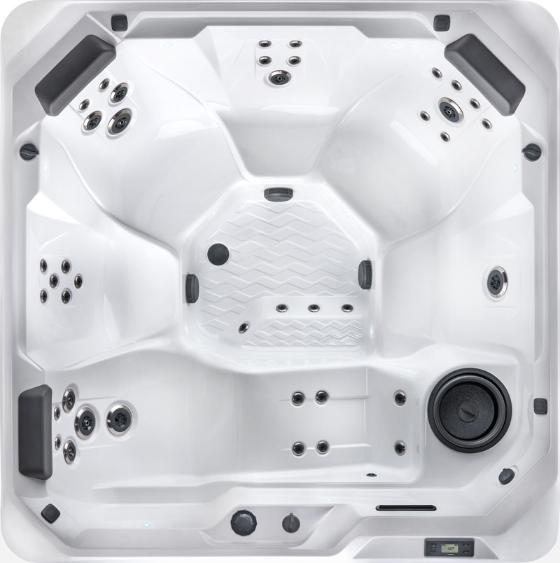 Overhead shot of hot spot series model with jets and seating configuration including a lounger type chair
