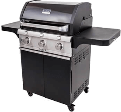 Saber Grills Cast iron 3 Burner Gas grill in black