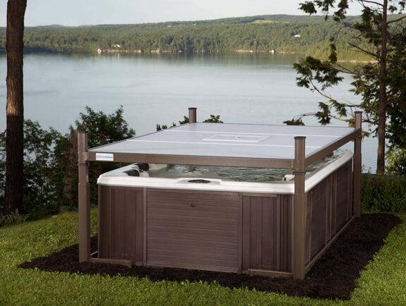 Evolution Covana Cover closing over hot tub