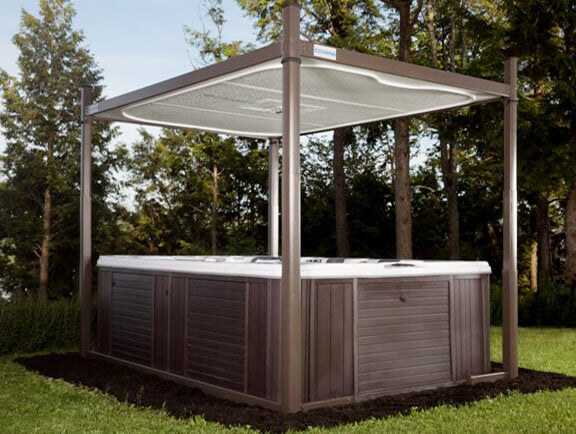 Evolution Covana Cover raised over hot tub
