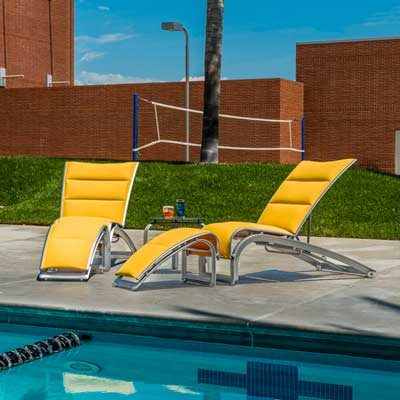 Yellow poolside lounge chairs
