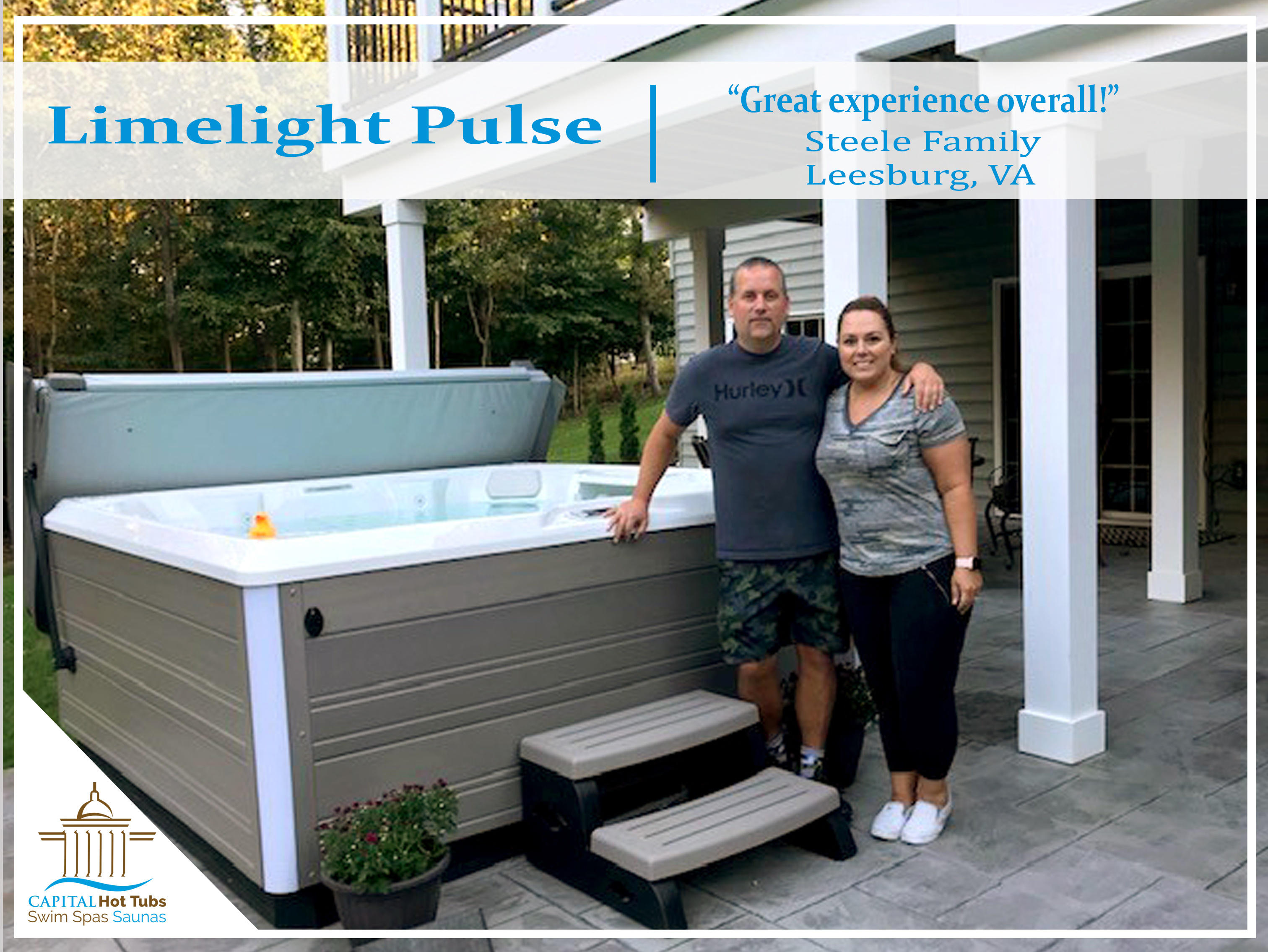 couple next to beautiful hot tub on back patio