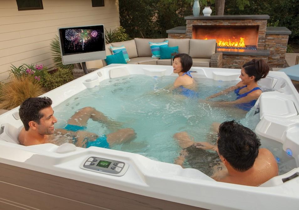 Friends in a hot tub in Fresno