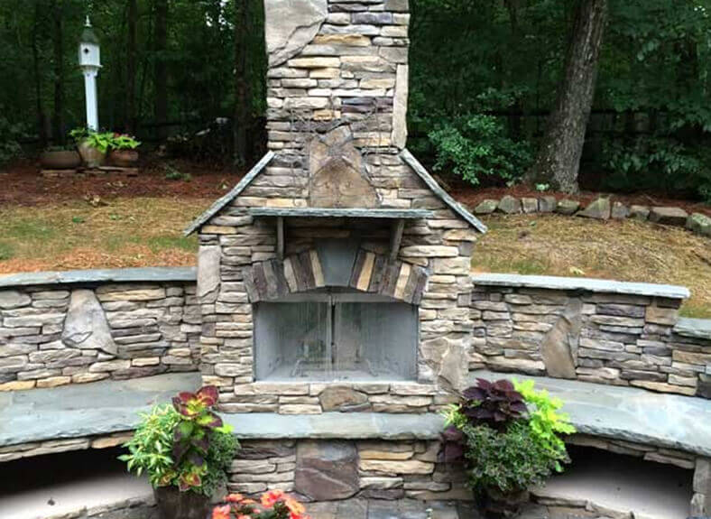 outdoor fireplace in Indian Trail, NC