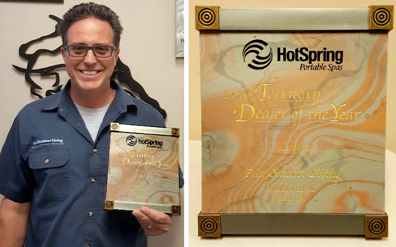 "Fun Outdoor Living Receives Hot Spring Spa ""Territory Dealer of the Year Award 2016"""