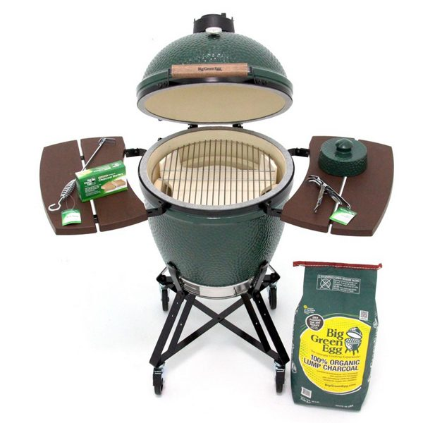 Large Big Green Egg product open with charcoal