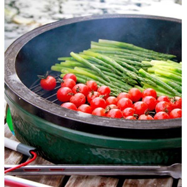 Large Big Green Egg grilling veggies