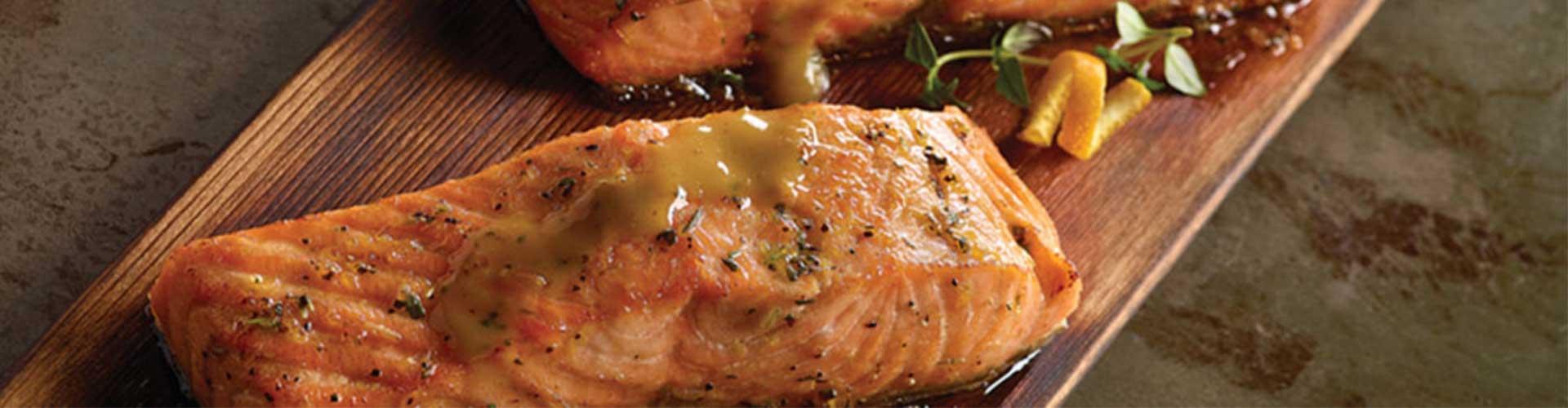 Cedar Planked Salmon with Honey Glaze