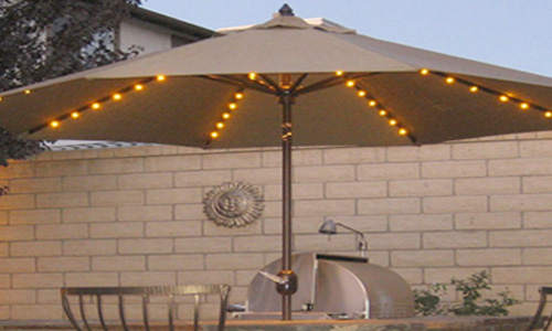Giant East Coast patio umbrella with lights