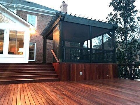 Outdoor TimberTech decking with an enclosed window area