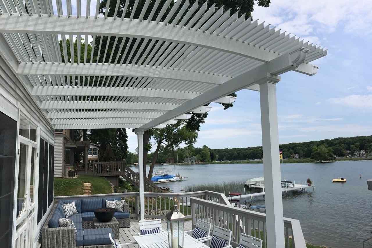 Under view of Fun Outdoor Living's construction of a Temo Operable Pergola in backyard