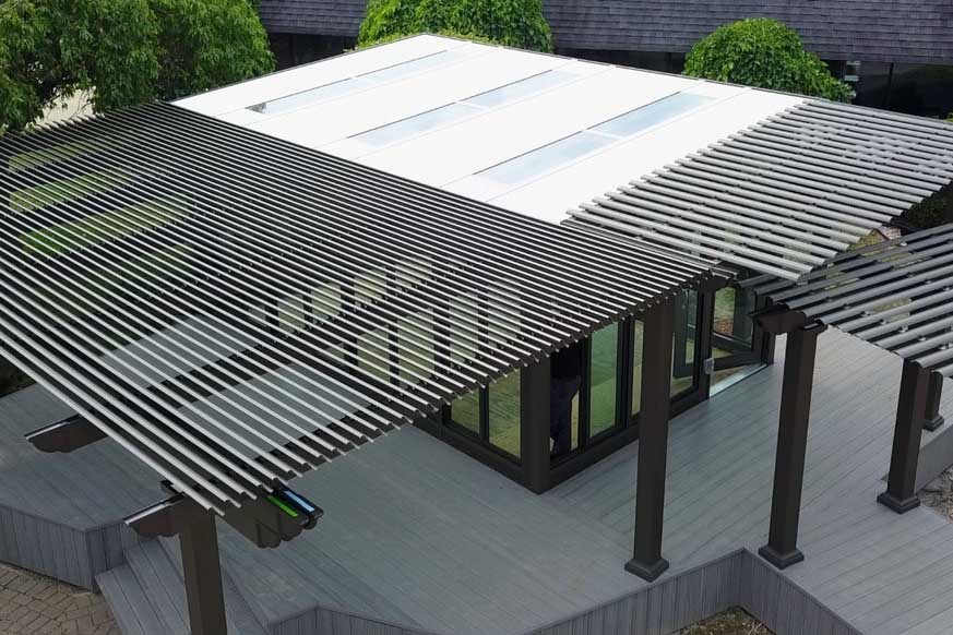 Overhead view of Fun Outdoor Living's construction of a Temo Operable Pergola