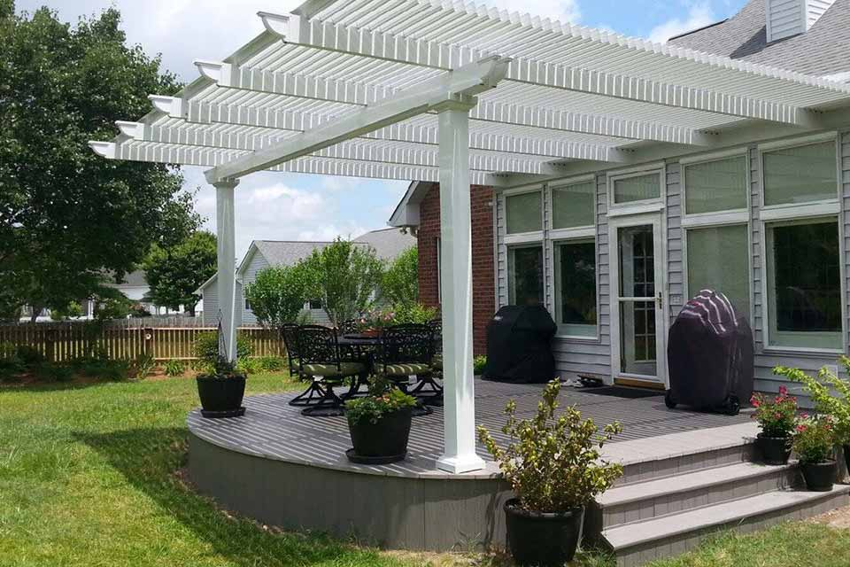 Fun Outdoor Living's construction of a Temo Operable Pergola on patio
