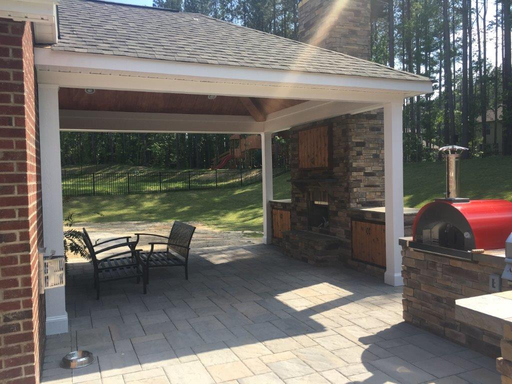 Patio construction with an outdoor fireplace