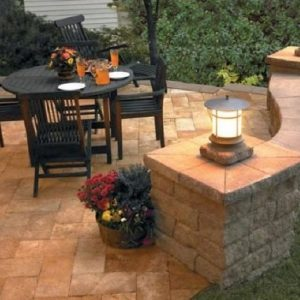 Natural stone walkway and patio construction