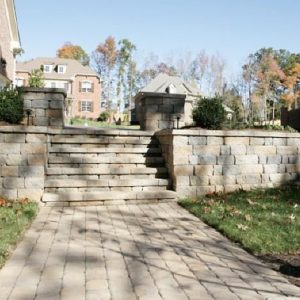 Stone walkway, wall and stairs construction and installation