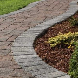 Close up of a Stone walkways and stairs construction and installation
