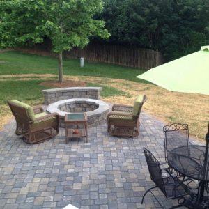 Backyard natural stone paved construction