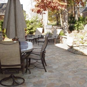 Fun Outdoor Living constructed stone paved patio