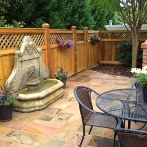 Paved patio constructed by Fun Outdoor Living