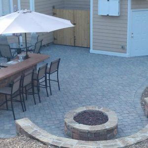 Customer patio with fire pit