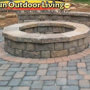 Fun Outdoor Living construction of a stone fire pit and walkway