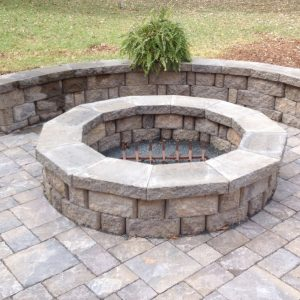 Close up of installed stone fire pit