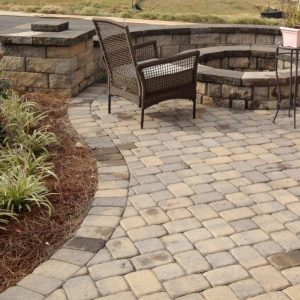 Stone fire pit installed on patio