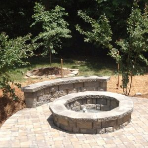 Fun Outdoor Living installation of paved patio and fire pit
