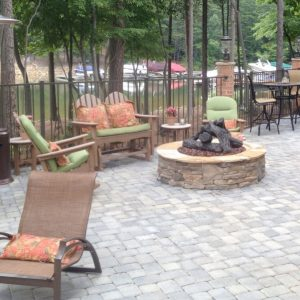 Fun Outdoor Living customer patio with fire pit