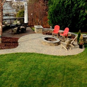 Paved walkway to fire pit and patio