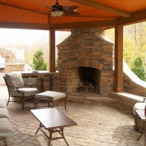 Brick fireplace construction and installation